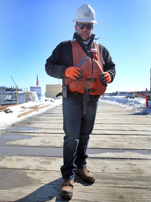 Ignio D'Ippolito, 33, at his job as area superintendent with New NY Bridge Project in Nyack on Friday.