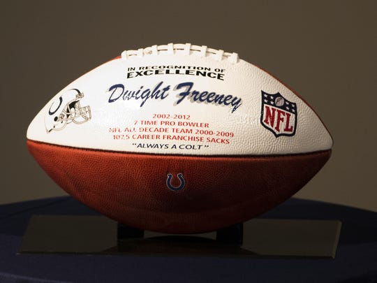 A commemorative football for Dwight Freeney, longtime