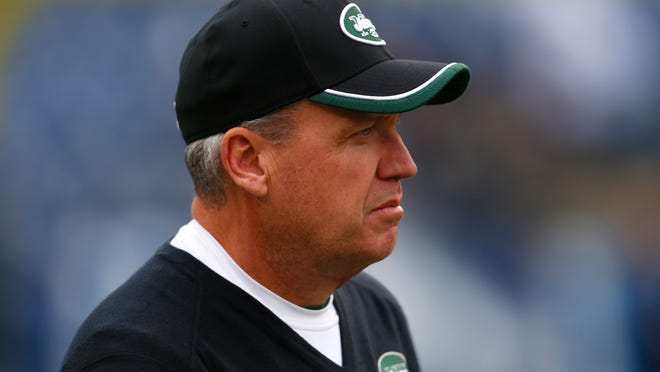 New York Jets head coach Rex Ryan watches his team warm up before an NFL football game on Sunday, Dec. 14, 2014, in Nashville, Tenn. (Jeff Haynes/AP Images for Panini)