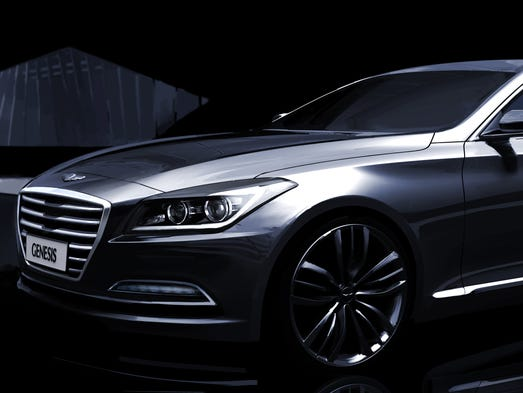 Hyundai's look for front of the 2015 Genesis, to be unveiled at the Detroit Auto show, echoes HCD-14 concept shown in Detroit a year ago.