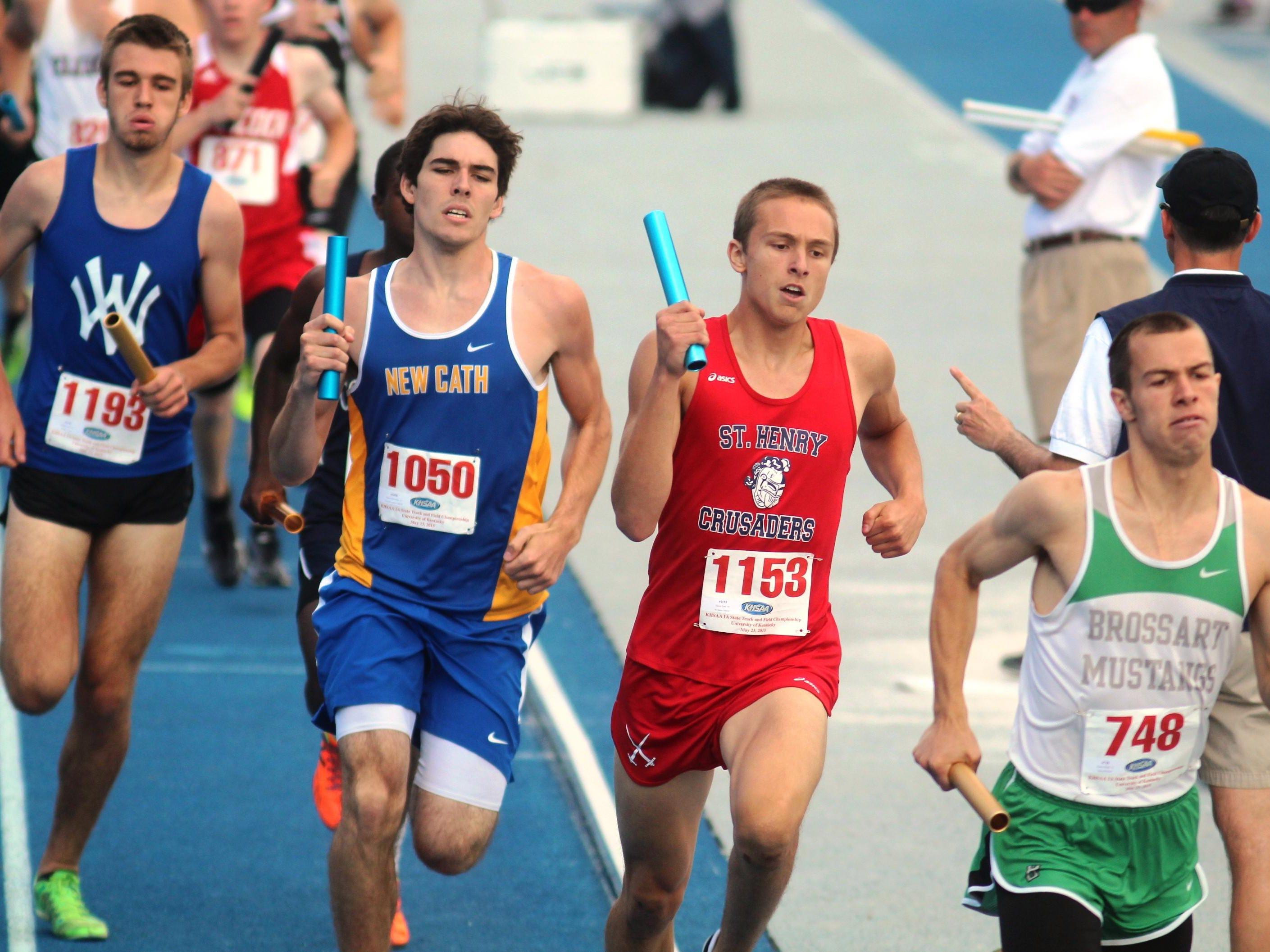 Senior Nathan Akins of Walton-Verona, far left, runs at state.
