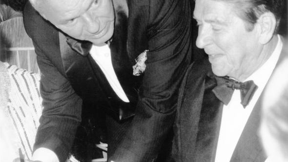 President-elect Ronald Reagan with Frank Sinatra at