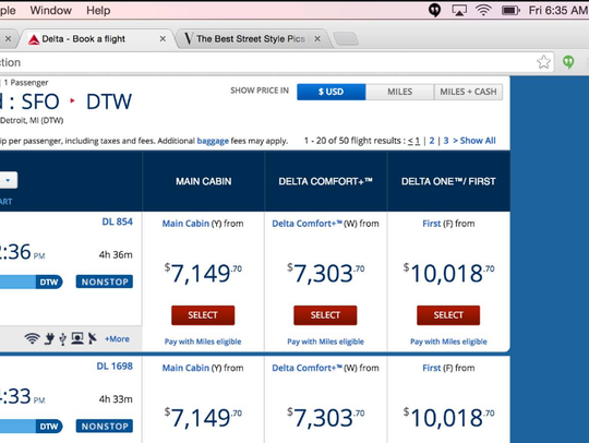 Delta's website on Friday, July 1 listed a fare between