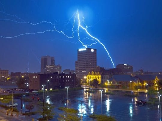 Courier & Press archives (File Photo) Lightning arcs across the sky over Downtown Evansville on April 26, 2011. There's little doubt the Tri-State will have its share of severe weather to contend with this year. During this time of the year it is a good idea to review preparedness plans with friends, family and loved ones.