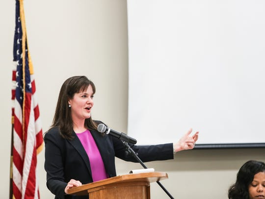 Tennessee Education Commissioner Candice McQueen speaks during the Memphis Shelby County Education Association's spring education forum April 14.