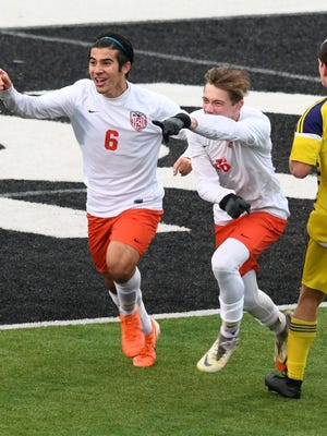 Hoover's Dominic Gambone celebrates a goal in the second half against   Jackson in a boys soccer Division I district final at Perry on Saturday, October 26, 2019.