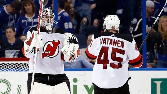 Feb 17, 2018; Tampa, FL, USA; New Jersey Devils goaltender