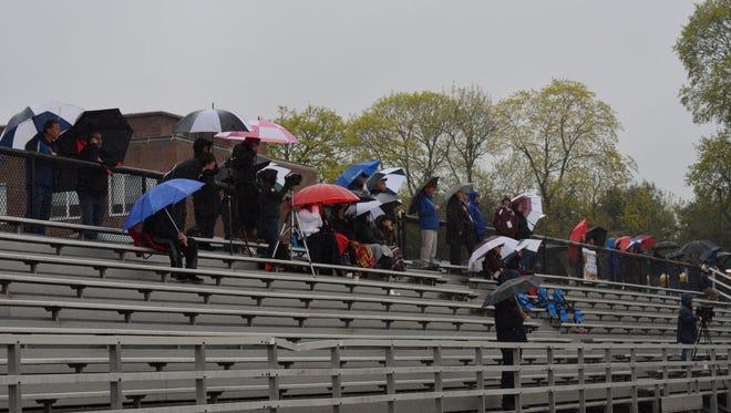 Fans watch Stepinac play Scarsdale in boys lacrosse.