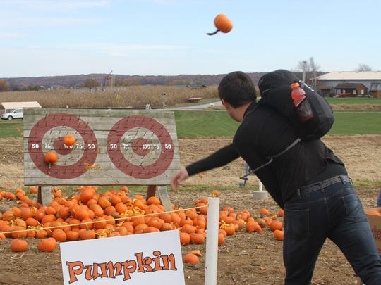 Reverse pumpkin darts is one of several pumpkin-themed games on the agenda for Cherry Crest Adventure Farm's Pumpkin Madness Festival Nov. 5.