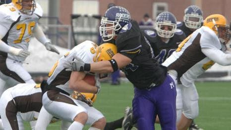 Mount Union's Greg Brauer makes a tackle during the 2005 NCAA Division III national semifinal game against Rowan.