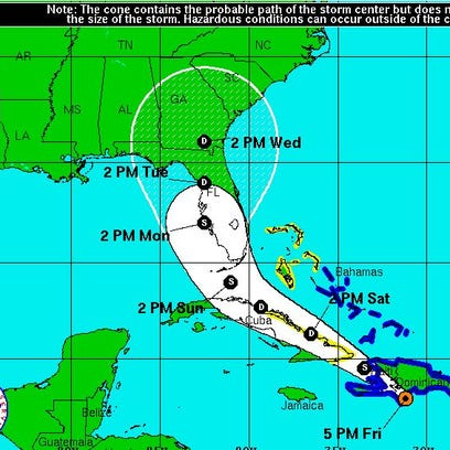 The National Hurricane Center's 5 p.m. map