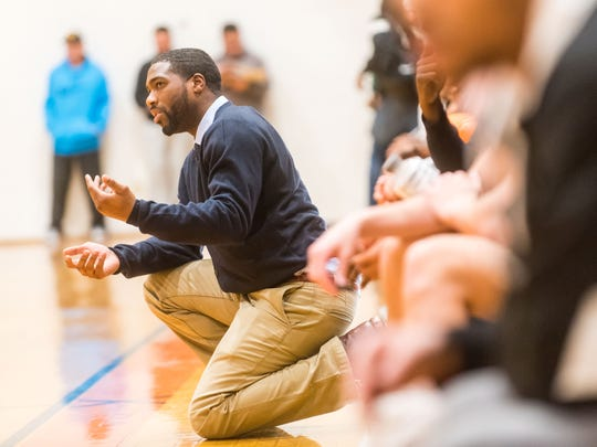 Middle Township coach Anthony Farmer instructs his team during Saturday's game against St. Benedict's at the Jimmy V Classic.