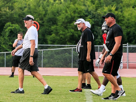 Stewarts Creek coach David Martin (left) and his Red Hawks will battle in Class 6A this season.