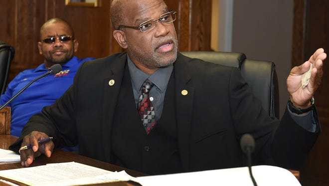Mayor Reggie Tatum discusses the city budget during a heated meeting of the Opelousas Board of Aldermen Tuesday at Opelousas City Hall.