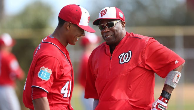 """""""""""There's a certain criteria for black players,'' Nationals manager Dusty Baker said, """"and one of those is you can't be a soft tosser."""" Joe Ross, left, is one of seven African American starting pitchers in the major leagues."""
