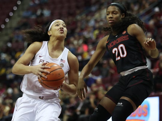 FSU's Nausia Woolfolk drives past Virginia Tech's Michelle