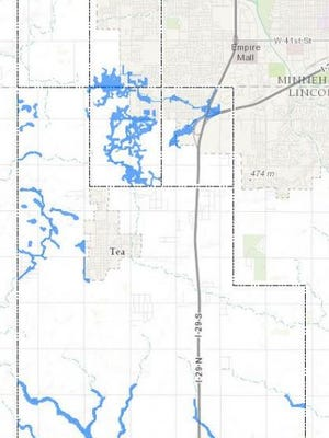A portion of the updated flood-risk map proposed for far southwestern Sioux Falls.