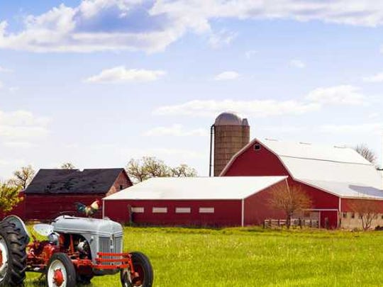 farmhouse and green field in Iowa