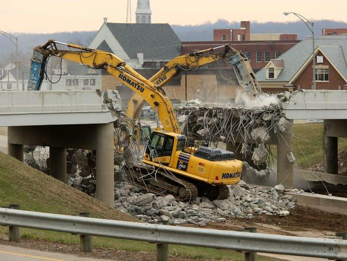 Demolition of the Mount Vernon Road bridge over Ohio
