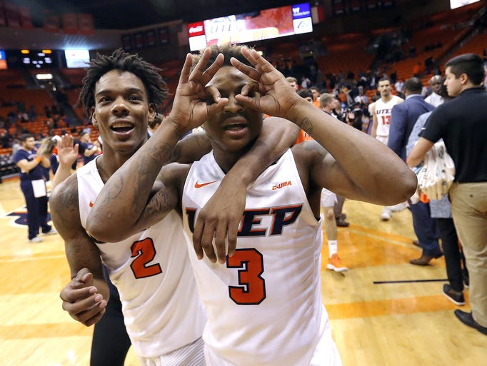 UTEP's Evan Gilyard and Omega Harris celebrate the