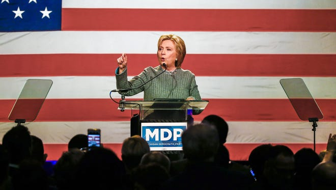 Hillary Clinton speaks at a reception for the Michigan Democratic Party at the MGM Grand Hotel in Detroit on March 5, 2016.
