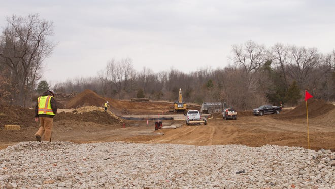 Land is leveled west of Emu Drive north of M-36 in Putnam Township March 24 in preparation for the installation of the E.T. Rover pipeline.