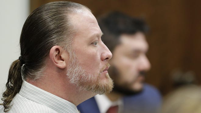 George Burch listens to the prosecution's closing argument during his trial in Brown County Circuit Court for the murder of Nicole VanderHeyden in Ledgeview in May of 2016. The case went to the jury early Thursday afternoon.