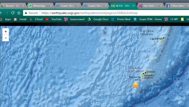 A 4.9 magnitude earthquake shook Guam on Sunday, April 29, 2018.