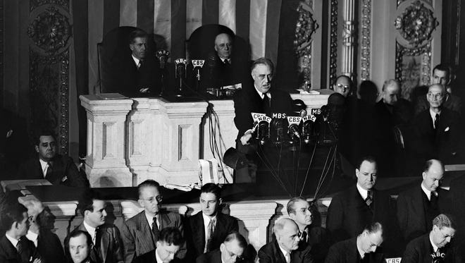 President Franklin Roosevelt speaks to a joint session of Congress in Washington, D.C., on Dec. 8, 1941, asking for a declaration of war after the Japanese attack on Pearl Harbor, Hawaii.