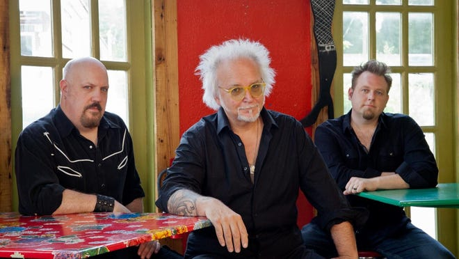 "Kevin Hornback (left), Reeves Gabrels (center) and Jeff Brown recorded a new album, ""Reeves Gabrels and His Imaginary Friends."" Marc Pisapia is subbing for Brown on the tour, which comes to Lafayette Brewing Company."