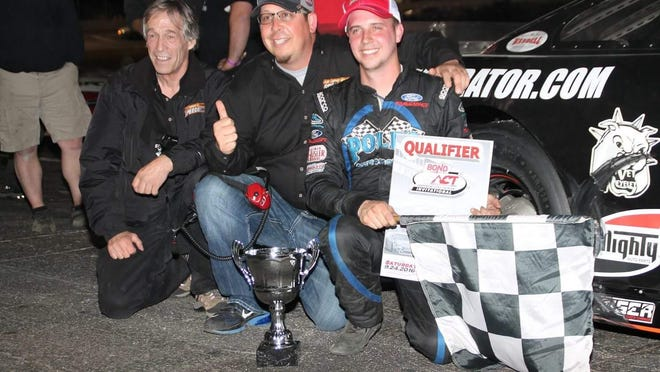 Joey Polewarczyk Jr. (right) with New London-Waterford Speedbowl promoters Bruce Bemer (left) and Shawn Monahan (center) and Polewarczyk's ACT Late Model victory in Connecticut on Saturday night.