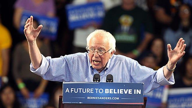 Democratic presidential candidate Bernie Sanders speaks during a rally in Santa Cruz, Calif., May 31.