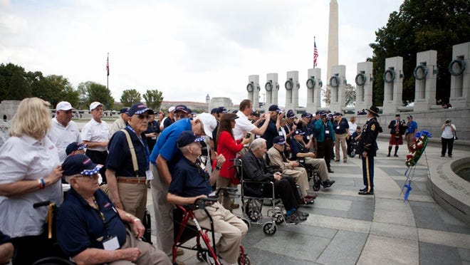 Veterans who make the annual Texas South Plains Honor Flight to Washington, D.C., visit the World War II memorial and other monuments and sites in the city.