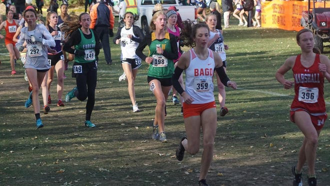Renee Rittmeyer (359) and the rest of the Winnebago Indians won the Class 1A girls state cross country title last year in Peoria, but there will not be a state meet this year because of the coronavirus.