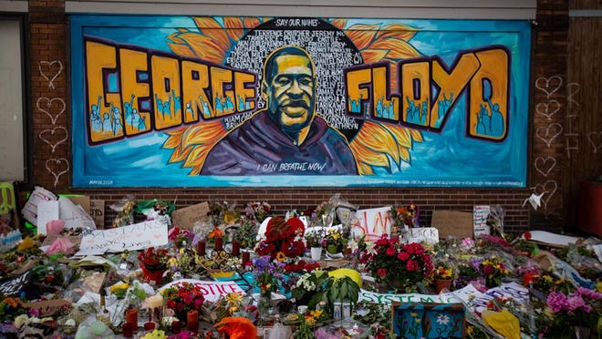 The makeshift memorial and mural outside Cup Foods where George Floyd was killed by a Minneapolis police officer on  May 31 in Minneapolis, Minn.