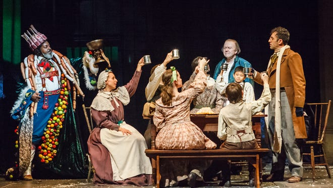 """A scene from the home of the Cratchit family in Actors Theatre of Louisville's updated production of """"A Christmas Carol."""""""