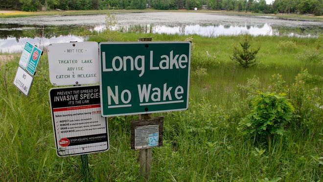 The boat launch at Long Lake, near Plainfield, no longer reaches the water. In Wisconsin's Central Sands, some lakes and streams have lowered or dried up in recent years as the number of high-capacity wells has mushroomed, largely for irrigation. Kate Golden/Wisconsin Center for Investigative Journalism