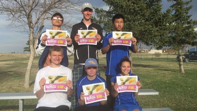 Six members of the Great Falls Central tennis team placed at last weekend's Northwest B-C Pre-Divisional Tournament at Cut Bank. Pictured are (top row, left to right) Benson Chu, Wyatt Walters, and Roger Mai; (bottom row) Nick Scott, Eli Vincent, and Sam Purpura.