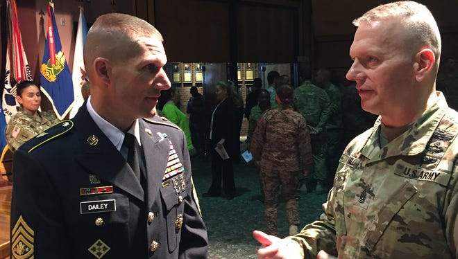 Sgt. Maj. of the Army Daniel A. Dailey, left, talks with Command Sgt. Maj. John Troxell, the senior enlisted adviser for the chairman of the Joint Chiefs of Staff, during a visit to Fort Bliss. Dailey is hosting a leadership conference at Fort Bliss and in El Paso this week.