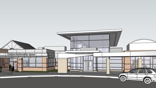 """An architect's sketch shows plans for  """"survivorship center"""" that will adjoin Coborn Cancer Center, operated by CentraCare Health in St. Cloud."""