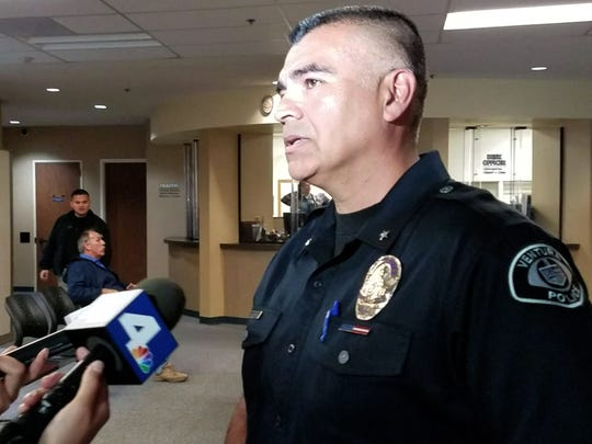 Ventura Police Cmdr. Sam Arroyo addresses the media Monday morning.