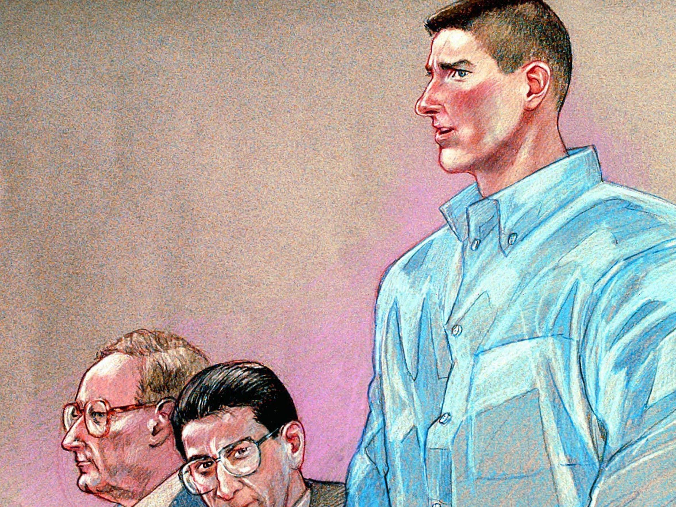 Timothy McVeigh addresses the court at his trial in Denver on May 15, 1997, as shown in this courtroom drawing by CBS News artist Pat Lopez.  Defense attorneys Stephen Jones, left, and Robert Nigh, center, look on.