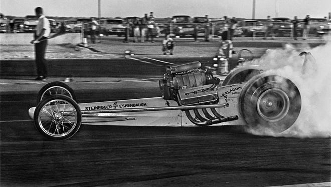 Al Eshenbaugh drag racing his Top Fuel Dragster around 1963 in Phoenix. Handout art for the Phoenix Drag Race Reunion at Wild Horse Pass.