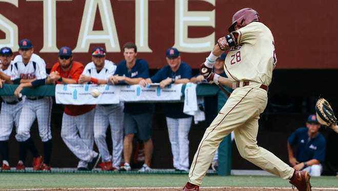 Dylan Busby blasts one of his two home runs in FSU's 18-6 win over South Alabama.
