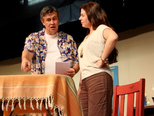 """Casey Gadbury and Jamie Covington rehearse a scene from the play """"I Ought to be in Pictures."""" The play will be on will be 7:30 p.m. on Feb. 26 and 27, 2 p.m.on Feb. 28, 7:30 p.m. on March 4 and 5, as well as 2 p.m. March 6."""