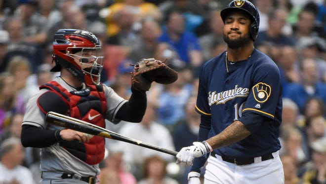Domingo Santana reacts after strking out against the Indians.