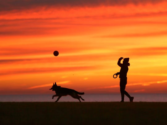 Robert Spector of Milwaukee plays with his dog Matteo, a 10-month-old purebred German shepherd, as the sun rises at a soccer field near Lake Park along N. Lincoln Memorial Drive In Milwaukee in December 2017.