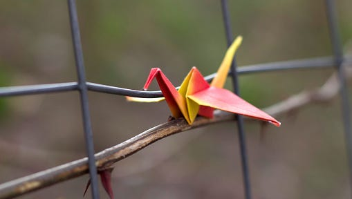 origami paper bird at the fense
