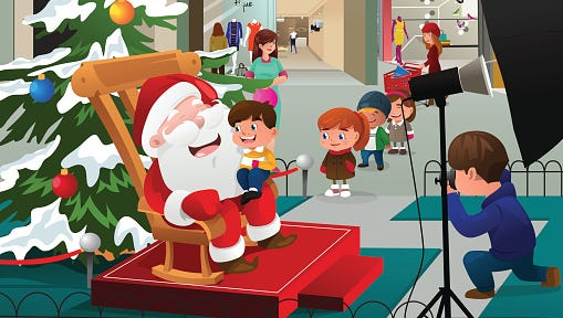 Kids Lining Up to Take Pictures with Santa Claus