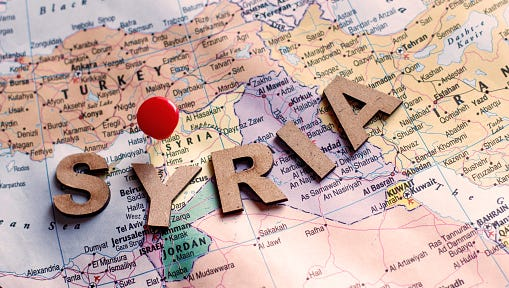 Country name Syria written on global map